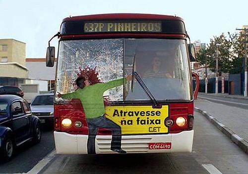 Creative bus wrap ads, rider safety