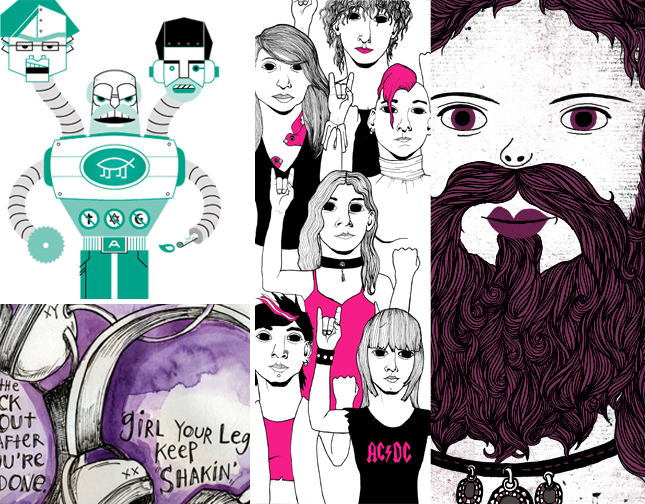Four examples of illustration work from recent issues of Bitch magazine, including a graphic image of an Atheist Robot Man by Ryan Brown, a graphic illustration of young women at a rock show by Kristopher Pollard, a close-up of a bearded lady illustration by Yoswadi Krutklom, and a watercolor sketch by Wendy Macnaughton