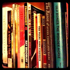 Browsing my shelves (snapgirl tc) Tags: books bookshelf ipodphoto highschoolreadingbooks