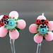 Earring Pair : Ladybug Pink Blossom Flower