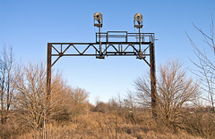 Ghost of the Erie Past (monon738) Tags: railroad train er pentax indiana railway el abandonedrailroad railfanning erielackawanna signalbridge erierailroad k20d smcpda1645mmf40edal laketonindiana