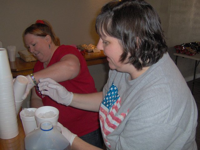 Cindy & Christy prepping food