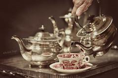 Tea time... (Barbara Taeger Photography) Tags: vintage silver 50mm nikon shiny dof tea bokeh antique 365 teacup afternoontea teaset selectivefocus cupandsaucer odc2 ourdailychallenge pianogram