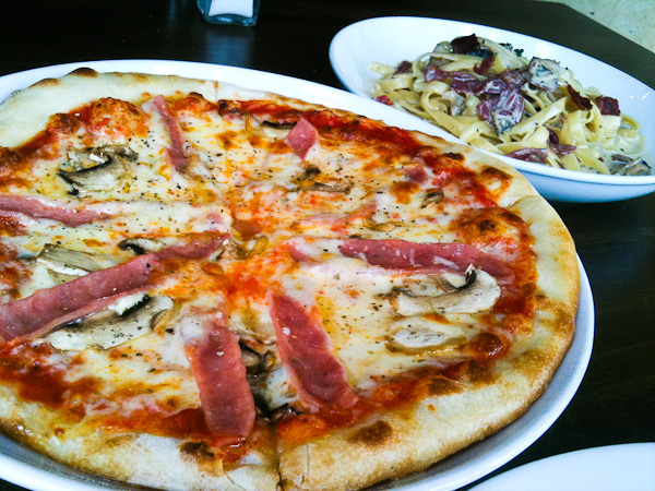 Ham & Mushroom Pizza and Classic Carbonara
