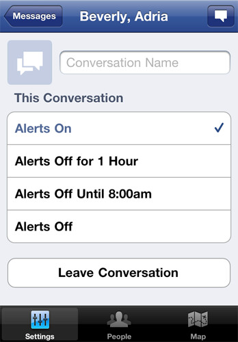Messenger: Conversation Options