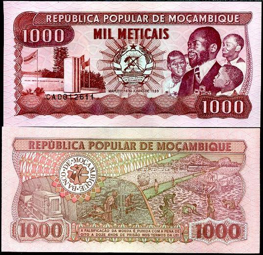 1000 Meticias Mozambik 1989, Pick 132c