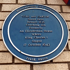 Photo of Star and Garter, Wolverhampton  and Charles I of England blue plaque