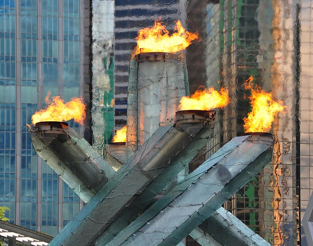 the Olympic Cauldron, relit this weekend, Vancouver