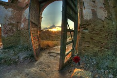 Heavens Door (guailon79) Tags: door sunset red espaa sun abandoned sol church miguel rose angel high spain puerta ruins war heaven close view sony rando perspective ruin young iglesia rosa guerra zaragoza septiembre spanish civil ruinas cielo aragon cerca perspectiva alpha miguelangel range alto hdr gomez espaol espaola ngel belchite dinamico gmez dinamic aficionado 2011 rango sonyalpha a580 turolense calamochino miguelangelgomez miguelangelgomezrando sonyalphaa580