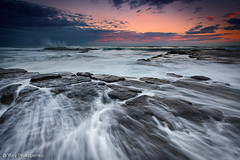 Evening Rush (-yury-) Tags: ocean sunset sea seascape water rock landscape evening sydney wave australia rush nsw swell turimetta moonmoonrise