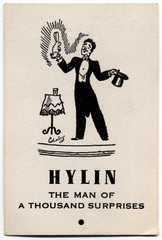 Hylin the Man of a Thousand Surprises (Alan Mays) Tags: old men vintage ads paper advertising cards clothing antique magic hats illustrations ephemera clothes tricks businesscards rabbits names advertisements printed magicians tuxedos slogans magictricks surprises tophats hylin