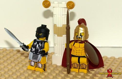 Custom minifig 300 Spartan (Leonidas) and Maximus from Gladiator