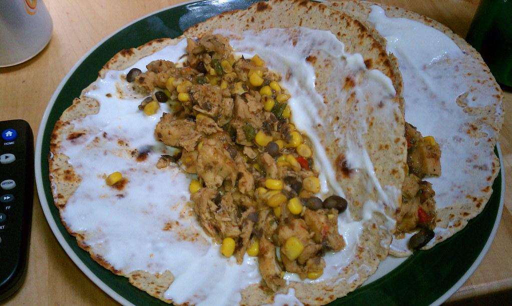 Chicken burritos with yogurt