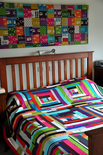Quilt top with echino wall hanging