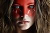 War Paint (Lou Bert) Tags: red portrait art girl face make up self war paint makeup tribal