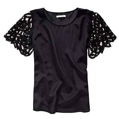 lattice lace silk top