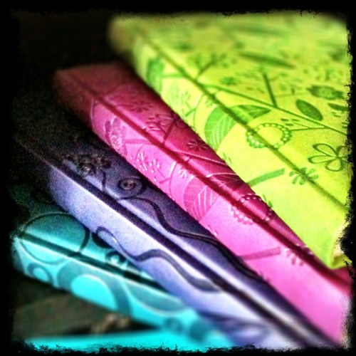 My #gorgeous new #journals! #flower #flowers #diary #purple #green #teal