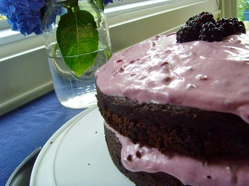 (Vegan) Chocolate Avocado Cake with (UnVegan) Vanilla Blackberry Cream Cheese Frosting