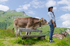 Cow Love - [EXPLORED] (andreaskoeberl) Tags: mountains alps green girl bench austria cow nikon hiking lech vorarlberg mountainpasture 1685 d7000 nikon1685 nikond7000 andreaskoeberl