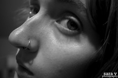 day ccxiv- features (365daysofsarav) Tags: bw selfportrait girl face piercing 365 365days