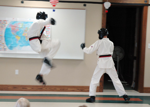 One World, Many Stories :: Week 4 :: Tae Kwon Do Demonstration :: spar1