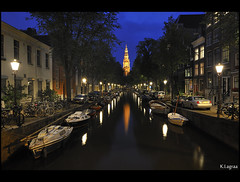 Quiet night (Kader Lagraa) Tags: city travel blue light summer west holland tower church water netherlands beautiful beauty amsterdam night composition contrast photography boat canal photo amazing interesting nikon europe long exposure ship shot image walk tripod feel atmosphere calm hour mm charming quite capture learn lense discover sense 1635 kader abdelkader d700 lagraa klagraa