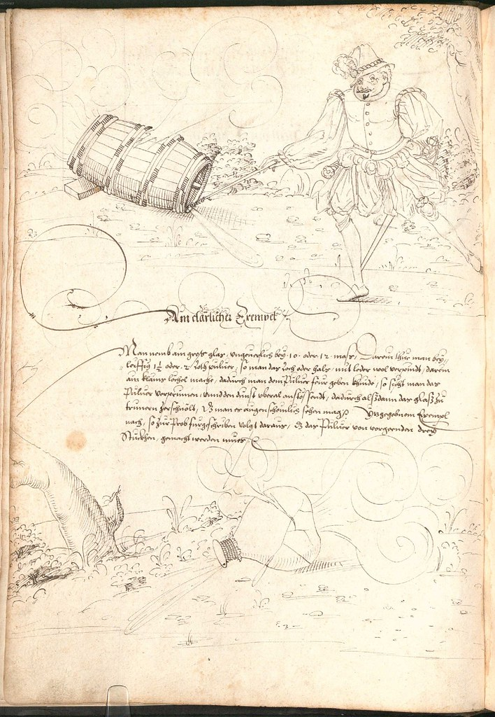 Early Modern manuscript warfare drawing -  Artilleriebuch 1582 BSB a