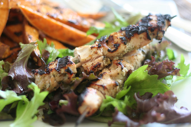 Grilled Sweet Potato Fries and Chicken Kebabs