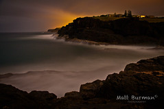 MONSTER SWELLS (matt burman) Tags: ocean sea water bulb night timelapse rocks waves pentax tide sigma cliffs spray nighttime surge swell kiama k7 eastsbeach