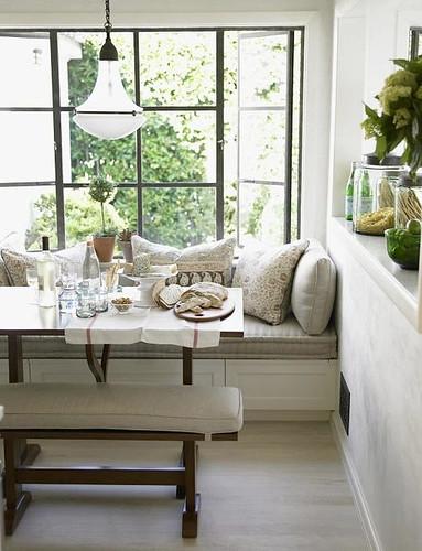 Chris Barrett {white rustic modern window seat / banquette / breakfast nook  / dining room