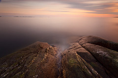 Calm (ramyo) Tags: longexposure sunset sea abstract water norway rock stone landscape dusk nd fjord portfolio hvaler