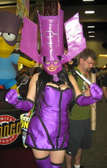Galacta, Daughter of Galactus cosplay, with a knife and fork. at Comic-Con 2011