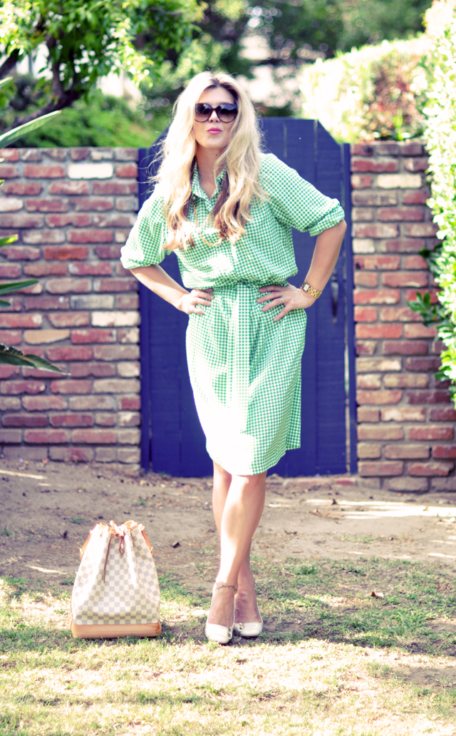 green and white check vintage shirtdress with marc jacobs shoes and louis vuitton bag