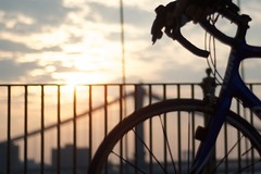 Brooklyn Bridge at sunrise (erin m) Tags: summer sunrise earlymorning brooklynbridge gothamist killingtime reallyearlymorning afnikkor50mmf18d