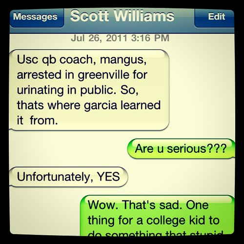 Tuesday: text from Scott about USC QB coach