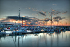 Ryde Harbour at sunset (Sue_Hutton) Tags: sunset sea sky evening calm isleofwight yachts hdr moorings rydeharbour