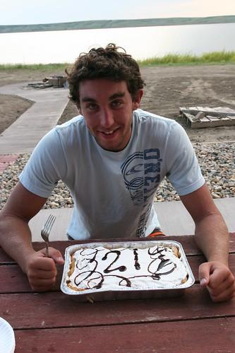 Oak poses by his birthday dessert