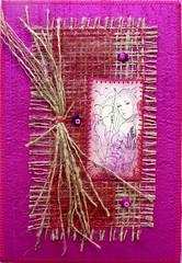 Astro 11 Sagittarius (Karen Cattoire) Tags: signs colorful handmade embroidery mixedmedia silk stamp creation zodiac fiberart soie tampon beading astrology zodiaque cartepostale broderie astrologie artpostcard zodiacsigns arttextile perlage karencattoire