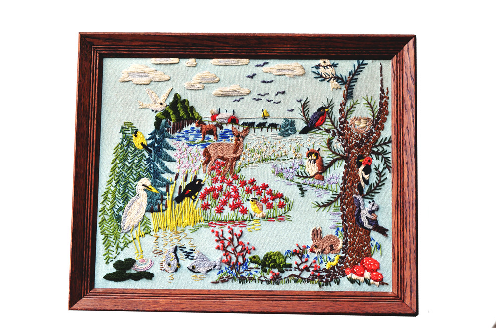 Vintage Woodland Crewel Embroidery Framed Artwork