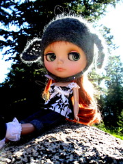 Shelby  4/365 Bl♥ved (willowee) Tags: blackwhite doll helmet redhead mohair shelby blythe custom moshimoshi customeyechips dropdeadcute willowee bl♥ved