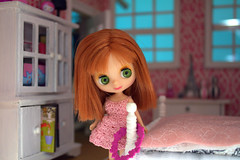 Petite Blythe in pink bedroom