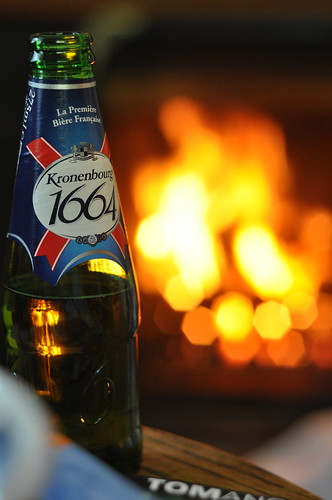Beer in front of the fire