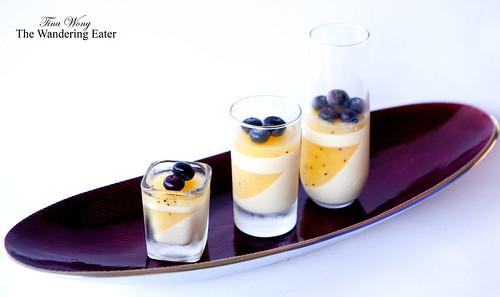 Homemade lemongrass tea panna cotta with golden kiwi gelée