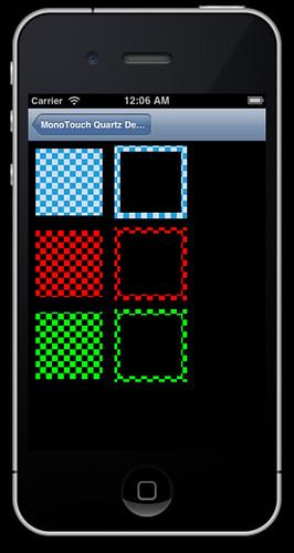 iPhone running Quartz sample two