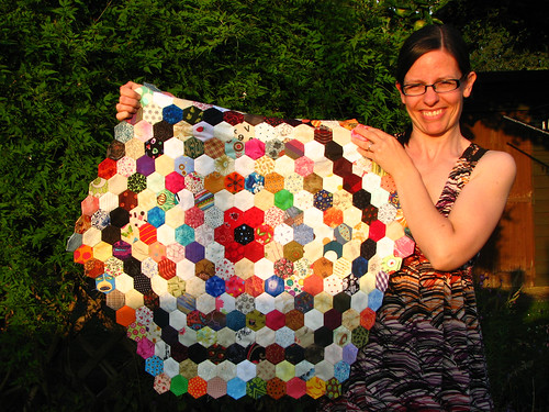 showing off my hexies in the evening light