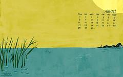 DesertFriends - August desktop calender (Christiane*) Tags: ocean desktop sea summer wallpaper lake yellow island calendar sunny august screen
