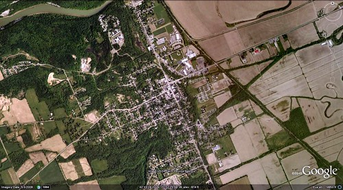 satellite photo of Mount Morris (via Google Earth)