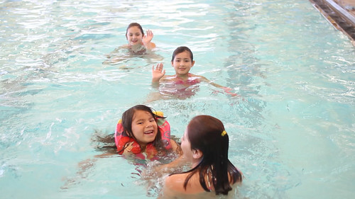 As part of the Diabetes Prevention Program, kids enjoy two hours of swimming before lunch.