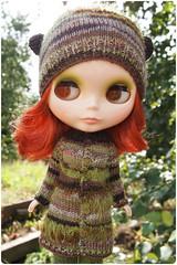 Miru in forest coloured bear ears (megipupu) Tags: hat sweater doll handmade knit blythe knitted cardigan megipupu