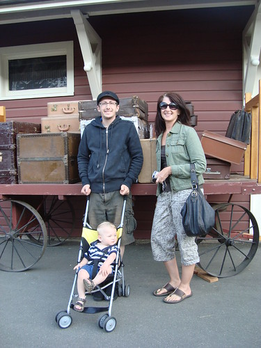 stew and his mom and seth at the train station